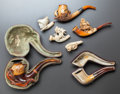 Decorative Arts, Continental:Other , SEVEN FIGURAL MEERSCHAUM PIPES . Late 19th century. 7-1/4 incheslong (18.4 cm). ... (Total: 7 Items)