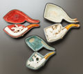 Decorative Arts, Continental:Other , THREE CASED FIGURAL MEERSCHAUM PIPES . Late 19th century. 6 incheslong (15.2 cm). ... (Total: 3 Items)