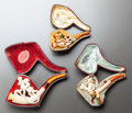 Decorative Arts, Continental:Other , THREE CASED FIGURAL MEERSCHAUM PIPES . Late 19th century. 6 incheslong (15.2 cm). ... (Total: 4 Items)