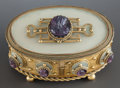 Decorative Arts, French, A FRENCH GILT METAL HINGED LIDDED OVAL JEWEL BOX. 20th century.Marks: MOREAU. 4 x 6-3/4 x 4-3/4 inches (10.2 x 17.1 x 1...