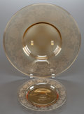 American:Modern, AN ELEVEN PIECE ENGRAVED AMBER GLASS DESSERT SERVICE. 20th century.14 inch diameter (35.6 cm) (bowl). 8-5/8 inch diameter (... (Total:11 Items)