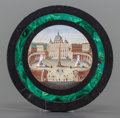 Decorative Arts, Continental, AN ITALIAN MICROMOSAIC PLAQUE OF ST. PETER'S CATHEDRAL IN ROME.Early 20th century. 4-1/4 inches diameter (10.8 cm). ...