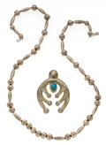 Estate Jewelry:Necklaces, Turquoise, Silver Necklace. ...