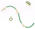 Estate Jewelry:Suites, Emerald, Diamond, Gold Jewelry Suite. ... (Total: 3 Items)