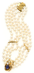 Estate Jewelry:Necklaces, Cultured Pearl, Sapphire, Diamond, Gold Necklace. ...
