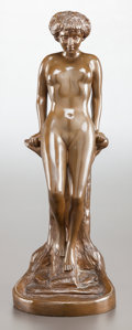 Bronze:European, AN ART NOUVEAU PATINATED BRONZE FIGURE OF A FEMALE NUDE. Circa1910. Marks: S. KENE, 1910. 17 inches high (43.2 cm). ...