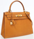 Luxury Accessories:Bags, Hermes 28cm Peau Porc Leather Sellier Kelly Bag with Gold Hardware....