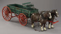 "Western Expansion:Cowboy, MODEL WOOD WAGON CIRCA 1930 - Scale wagon 26"" long by 11"" high by14"" wide. Wagon comes with two cast iron horses with Boyt ..."