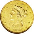 Liberty Eagles: , 1860-O $10 AU58 NGC. This is an important New Orleans Mint issue,struck just months before that facility was taken over by...