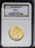 Indian Eagles: , 1907 $10 No Periods MS62 NGC. Smooth and glowing, with just a fewsurface marks to cause hesitance at assigning a higher gr...