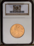 Indian Eagles: , 1910-D $10 MS62 NGC. Frosty yellow-gold luster is accented by pinkand olive overtones, and by brownish toning on the devic...