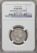 Barber Quarters, 1913-S 25C -- Improperly Cleaned -- NGC Details. VF....