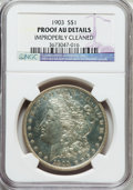 Proof Morgan Dollars, 1903 $1 -- Improperly Cleaned -- NGC Details. Proof AU. NGC Census:(0/252). PCGS Population (1/284). Mintage: 755....