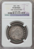 Early Half Dollars: , 1803 50C Large 3 -- Obverse Scratched -- NGC Details. VF. NGCCensus: (19/276). PCGS Population (39/318). Mintage: 188,234....