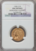 Indian Half Eagles: , 1908-D $5 -- Improperly Cleaned -- NGC Details. Unc. NGC Census:(49/2491). PCGS Population (65/2860). Mintage: 148,000. Nu...