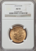 Indian Eagles: , 1912-S $10 AU55 NGC. NGC Census: (200/689). PCGS Population(161/572). Mintage: 300,000. Numismedia Wsl. Price for problem ...