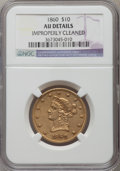 Liberty Eagles, 1860 $10 -- Improperly Cleaned -- NGC Details. AU. NGC Census:(17/64). PCGS Population (19/32). Mintage: 15,105. Numismedi...