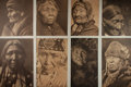 """Books:Prints & Leaves, [Native Americans] Lot of Eight Superb Sepia Portraits of NativeAmericans. 14.5"""" x 17.5"""". Fine...."""