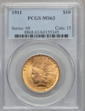 Indian Eagles: , 1911 $10 MS63 PCGS. PCGS Population (1617/657). NGC Census:(1703/1131). Mintage: 505,595. Numismedia Wsl. Price for proble...