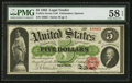 Large Size:Legal Tender Notes, Fr. 61a $5 1862 Legal Tender PMG Choice About Uncirculated 58 EPQ.. ...