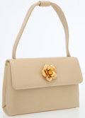 Luxury Accessories:Bags, Chanel Beige Lambskin Leather Evening Bag with Gold Camellia FlowerDetail. ...