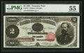 Large Size:Treasury Notes, Fr. 357 $2 1891 Treasury Note PMG About Uncirculated 55.. ...