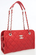 Luxury Accessories:Bags, Chanel Red Quilted Caviar Leather Shoulder Bag. ...