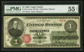 Large Size:Legal Tender Notes, Fr. 16c $1 1862 Legal Tender PMG About Uncirculated 55 Net.. ...