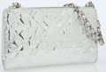 Luxury Accessories:Bags, Chanel Silver Embossed Patent Iconic Symbols Shoulder Bag. ...