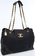 Luxury Accessories:Bags, Chanel Black Leather & Canvas Supermodel Weekend Tote Bag withGold Hardware. ...