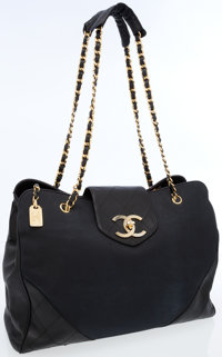 31b7e2da2f8fc4 Chanel Black Leather & Canvas Supermodel Weekend Tote Bag with Gold  Hardware