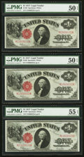 Large Size:Legal Tender Notes, Five Consecutive Fr. 39 $1 1917 Legal Tender Notes PMG About Uncirculated 50 EPQ (3) - 55 EPQ (2).. ... (Total: 5 notes)