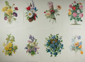 "Books:Natural History Books & Prints, [Botanical Prints] Lot of Eight Color Lithograph Illustrations of Various Flowers. 11.75"" x 15.75"". Fine...."