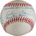 Autographs:Baseballs, Johnny Sain Single Signed Ball With Babe Ruth And Jackie RobinsonContent!....