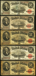 Large Size:Legal Tender Notes, $2 1917 Legal Tenders.. ... (Total: 5 notes)