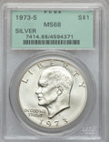 Eisenhower Dollars: , 1973-S $1 Silver MS68 PCGS. PCGS Population (822/3). NGC Census: (145/1). Mintage: 869,400. Numismedia Wsl. Price for probl...