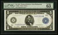 Fr. 863a $5 1914 Federal Reserve Note PMG Choice Uncirculated 63 EPQ