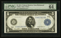 Fr. 863a $5 1914 Federal Reserve Note PMG Choice Uncirculated 64 EPQ