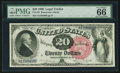 Large Size:Legal Tender Notes, Fr. 135 $20 1880 Legal Tender PMG Gem Uncirculated 66 EPQ.. ...