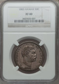 Coins of Hawaii: , 1883 50C Hawaii Half Dollar XF40 NGC. NGC Census: (39/357). PCGSPopulation (83/504). Mintage: 700,000. ...