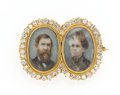 Estate Jewelry:Brooches - Pins, Antique Diamond, Painted Portrait Gold Brooch. ...