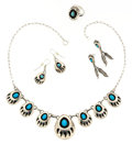 Estate Jewelry:Suites, Turquoise, Sterling Silver Jewelry Suite. ... (Total: 4 Items)