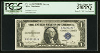 Solid Serial Number B22222222F Fr. 1613N $1 1935D Narrow Silver Certificate. PCGS Choice About New 58PPQ