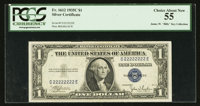 Solid Serial Number C22222222E Fr. 1612 $1 1935C Silver Certificate. PCGS Choice About New 55