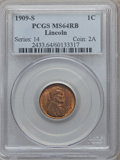 Lincoln Cents: , 1909-S 1C MS64 Red and Brown PCGS. PCGS Population (501/227). NGCCensus: (232/151). Mintage: 1,825,000. Numismedia Wsl. Pr...