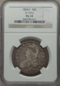 Bust Half Dollars: , 1824 50C Overdate VG10 NGC. O-101a. NGC Census: (0/82). PCGSPopulation (1/142). Numismedia Wsl. Price for problem free N...