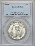 Walking Liberty Half Dollars: , 1935 50C MS65 PCGS. PCGS Population (1085/470). NGC Census:(679/243). Mintage: 9,162,000. Numismedia Wsl. Price for proble...