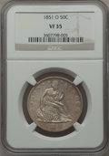 Seated Half Dollars: , 1851-O 50C VF35 NGC. NGC Census: (0/37). PCGS Population (5/71).Mintage: 402,000. Numismedia Wsl. Price for problem free N...