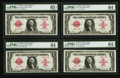 Large Size:Legal Tender Notes, Fr. 40* $1 1923 Legal Tender Cut Sheet of Four PMG Gem Uncirculated65 EPQ, Choice Uncirculated 64 EPQ, Choice Uncirculated 64...(Total: 4 notes)