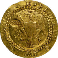 Featured item image of 1787 DBLN Brasher Doubloon, EB on Wing, W-5840, MS63 NGC. CAC....